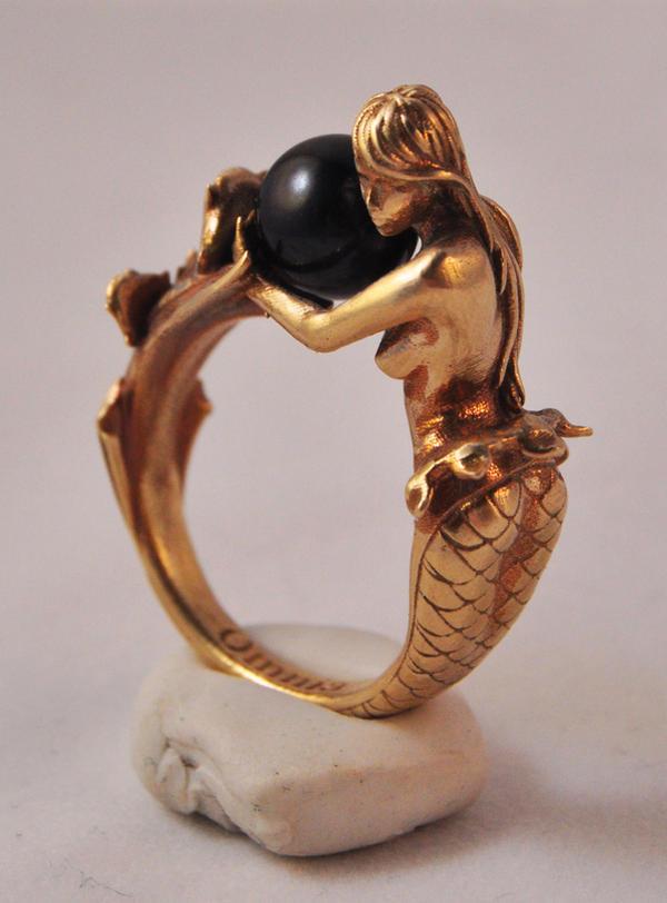 Arianna mermaid ring in brass by kerinewton