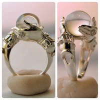 The Oracle - sterling ring and clear quartz sphere