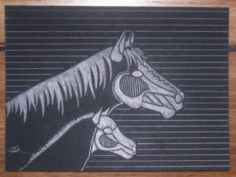 Black Paper Mare and Foal