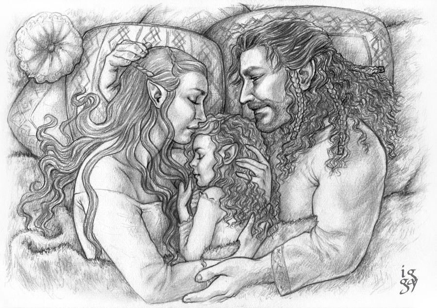 Tauriel, Kiliel and Kili - A moment of Peace by IngvildSchageArt
