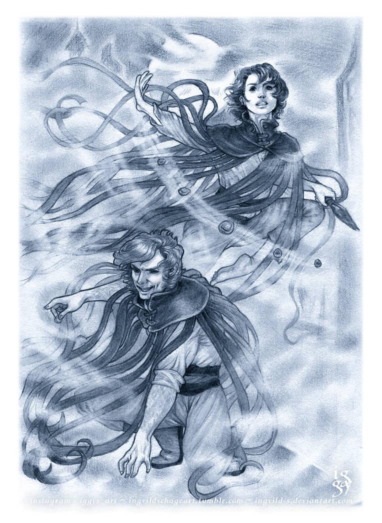 Vin and Kelsier - Masters of the Mist by IngvildSchageArt