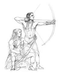 Maedhros and Fingon :: Archery Practice by IngvildSchageArt