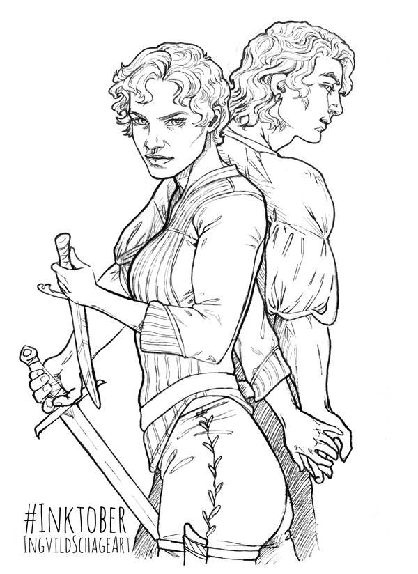 Katsa and Po - The Killer Couple (ink) by IngvildSchageArt