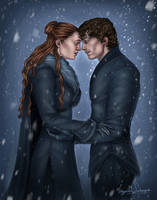 Sansa and Theon - The Reunion of Two hearts by IngvildSchageArt