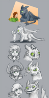 Hiccup and Toothless Age wrap Sketches.