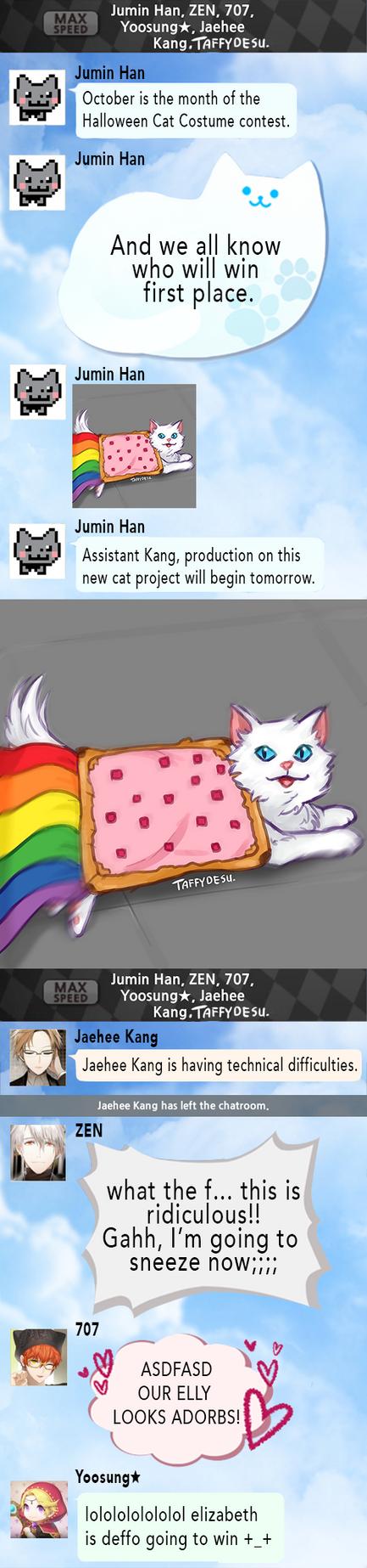Mystic Messenger Nyan cat by TaffyDesu