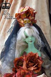 Velvet Sunset Flower and Skull by Acid-PopTart