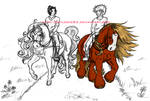 WIP- Naruto + Sasuke on horses by Psylocke83