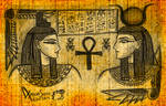 Isis and Hathor - coloured