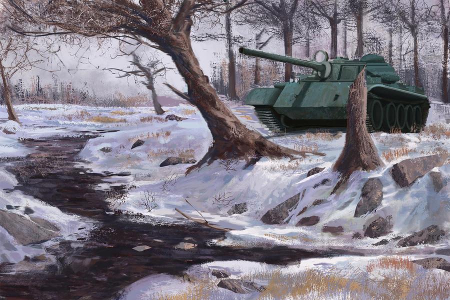 Tank in snow by Guy-Mandude