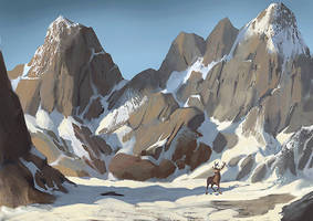 Snow mountains and an elk by Guy-Mandude