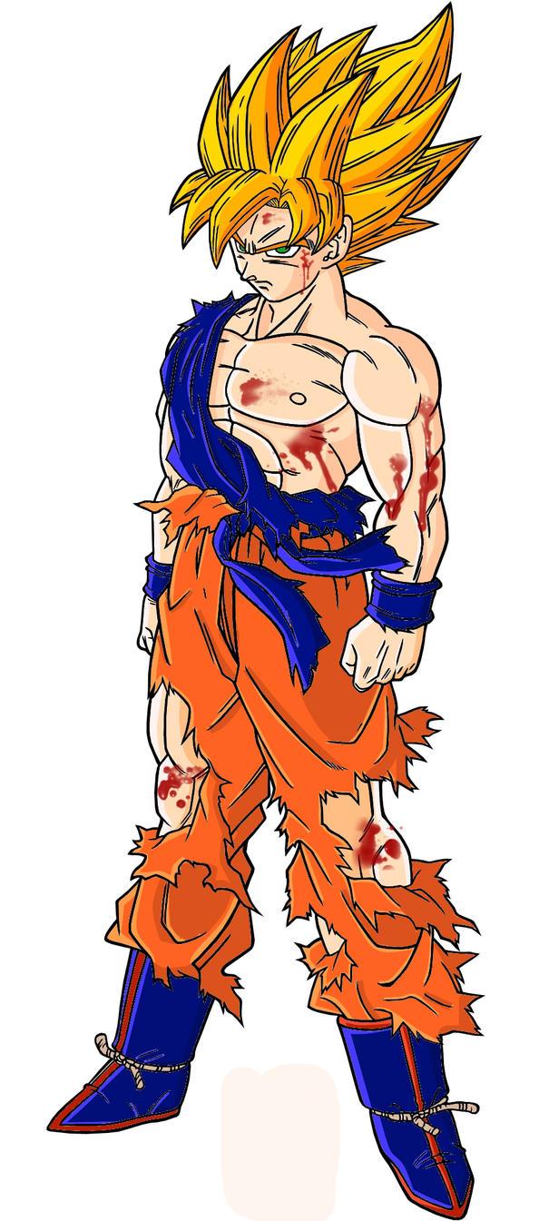 Goku Ssj Battle Damaged By Gokussj50 On Deviantart