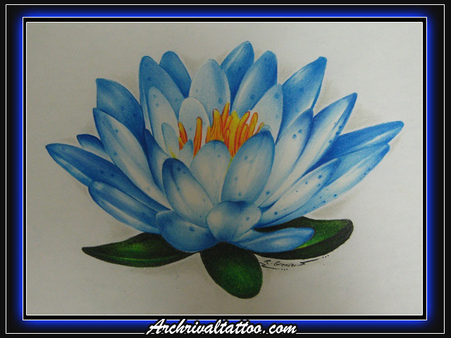 Blue Water Lily - flower tattoo