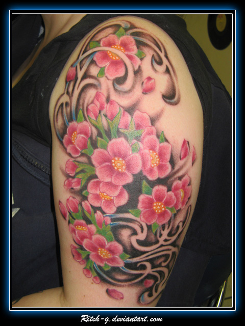 cherry blossom tattoo sleeve. half sleeve tattoos. Cherry