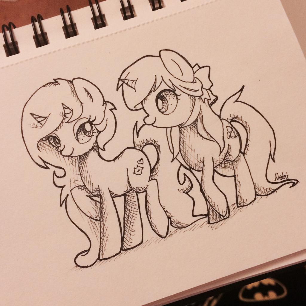 .:Inktober:. #2 Pretty ponies by Ne-chi