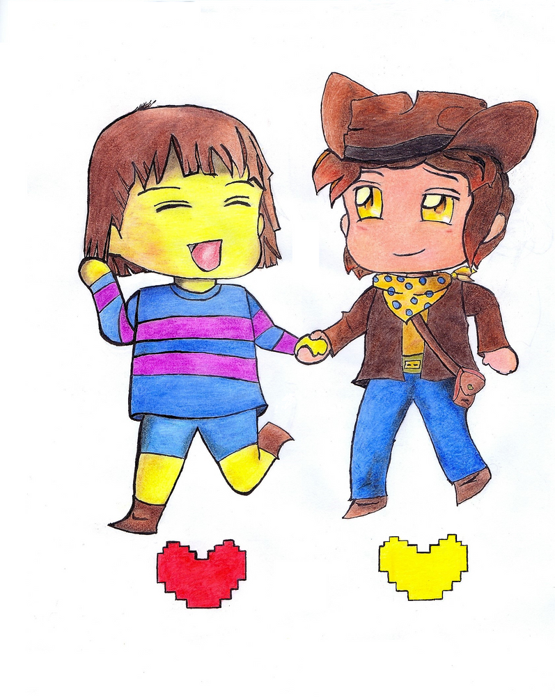 Frisk and Clover chibi by Ludensio
