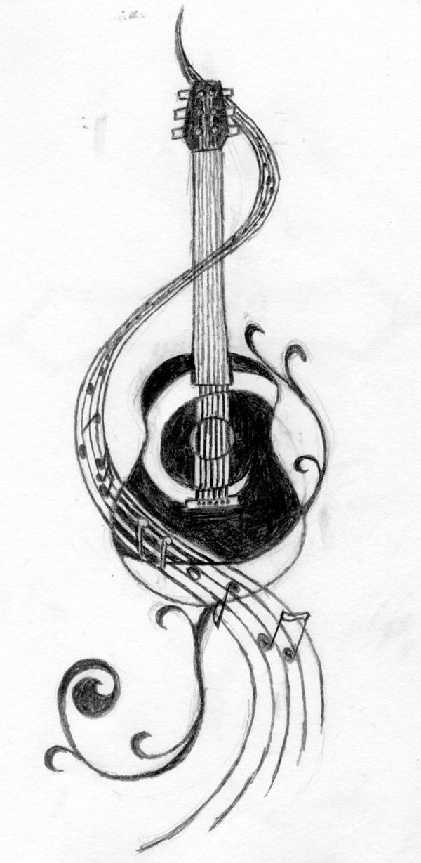 Black Electric Guitar With Flames Tattoo Images by Berna...