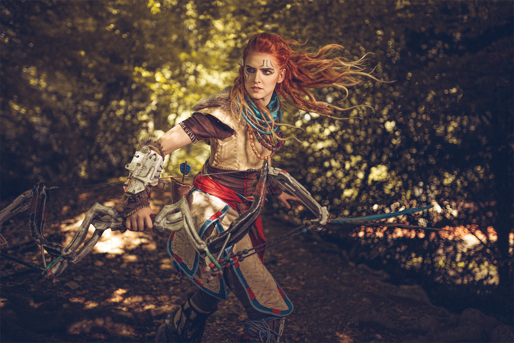 Aloy in action by MadameSkunk