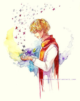 in his hands he held a spring