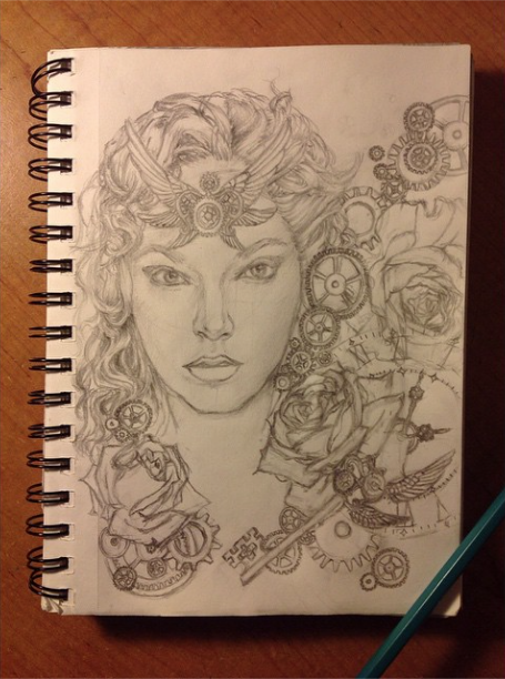 Steampunk Roses Drawing WIP by IzzieCat