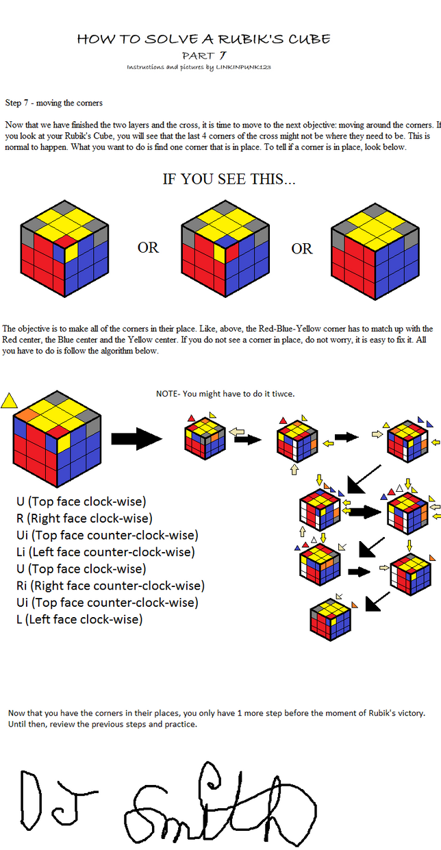 How To Solve A Rubik's Cube 7 By Linkinpunk123