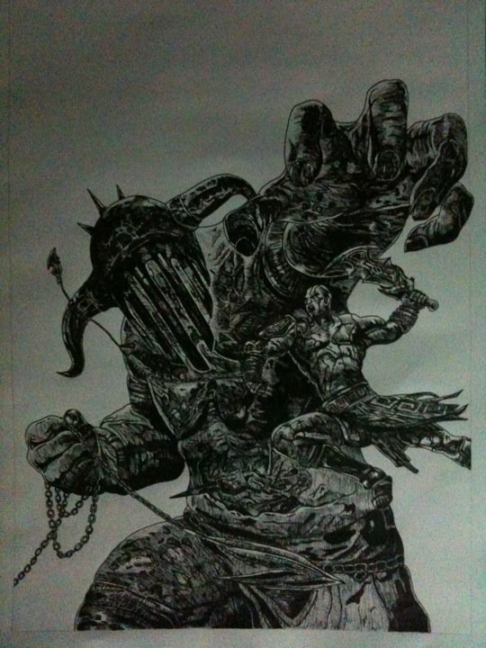 God of War 3 Hades drawing by Chriluke