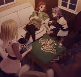 Mahjong tea party by soumakyo