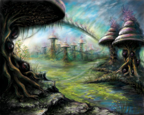 Alien Landscape colorized by RoseFaerie on DeviantArt