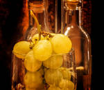 Grapes and bottles.