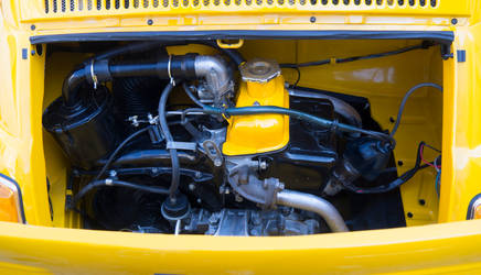 Yello Fiat engine.  Beaucaire. Fr.
