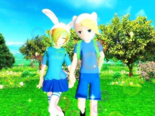 Finn X Fionna 3 Adventure Time [MMD] by nekito-chan