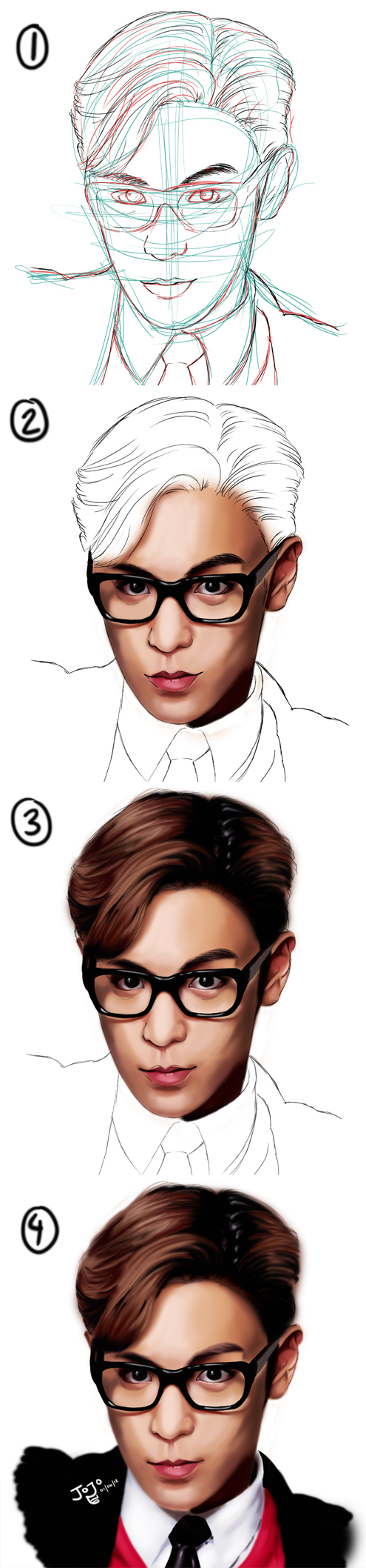 STEP BY STEP drawing of BIG BANG -TOP by takojojo15