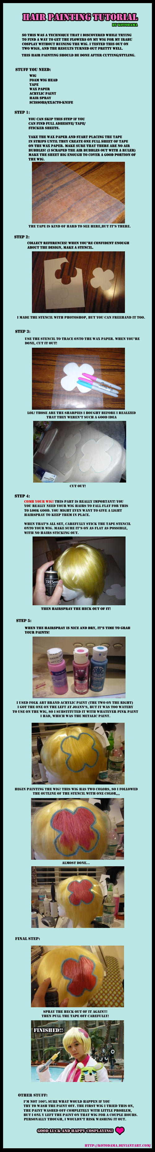 Cosplay Tutorial: Wig Painting by Kotodama