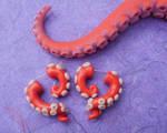 tentacle earrings faux gauged