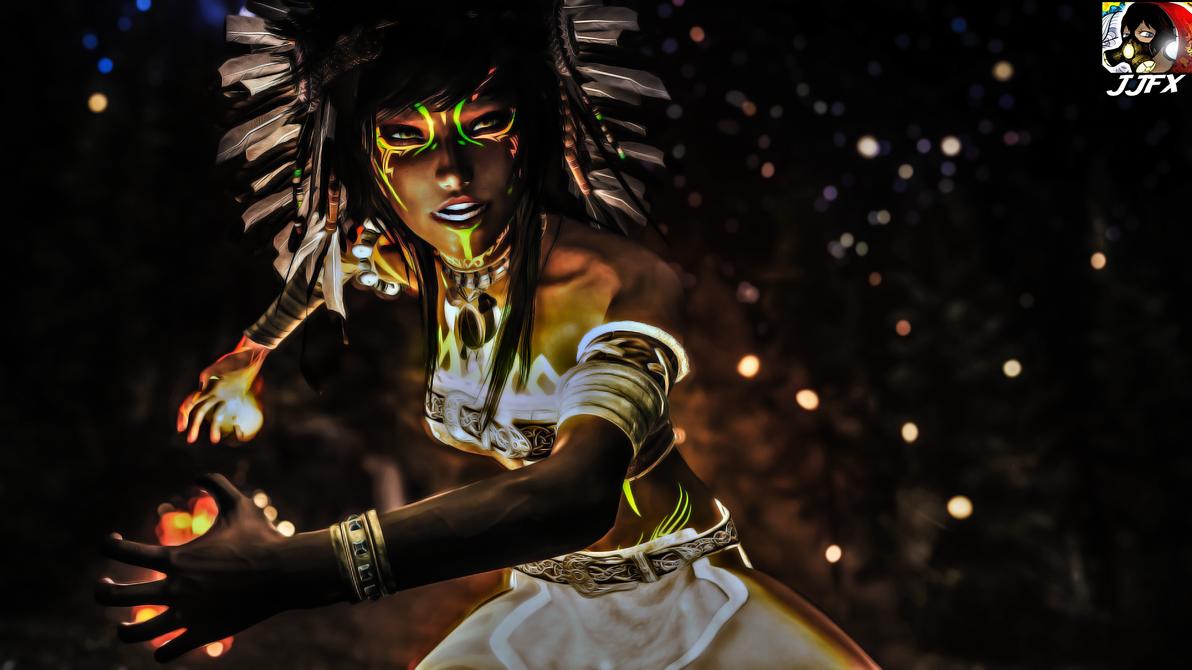 Leilani Fire Close Up digital paint edit by JJFX-MULTIMEDIA