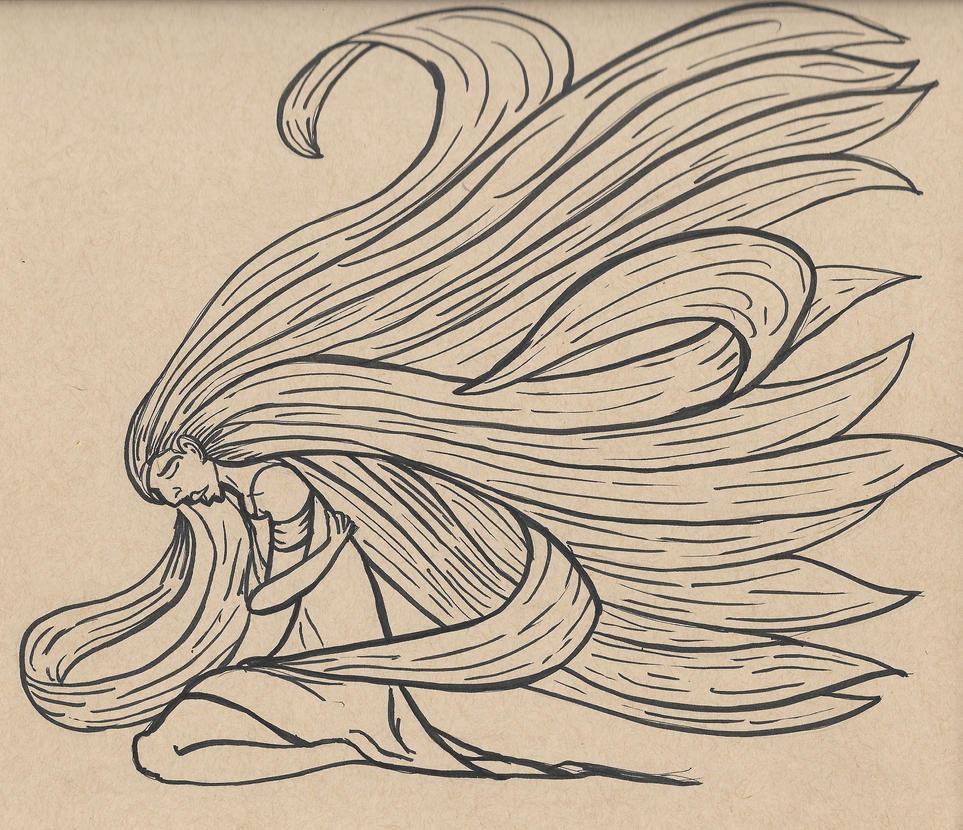 Inktober 13, 2017 (Teeming Hair) by KingArthur13th