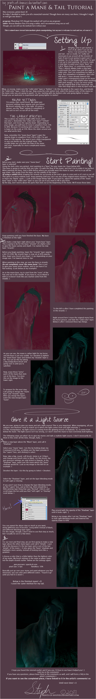 Nighttime Painting Manes and Tails Tutorial by prints-of-hooves