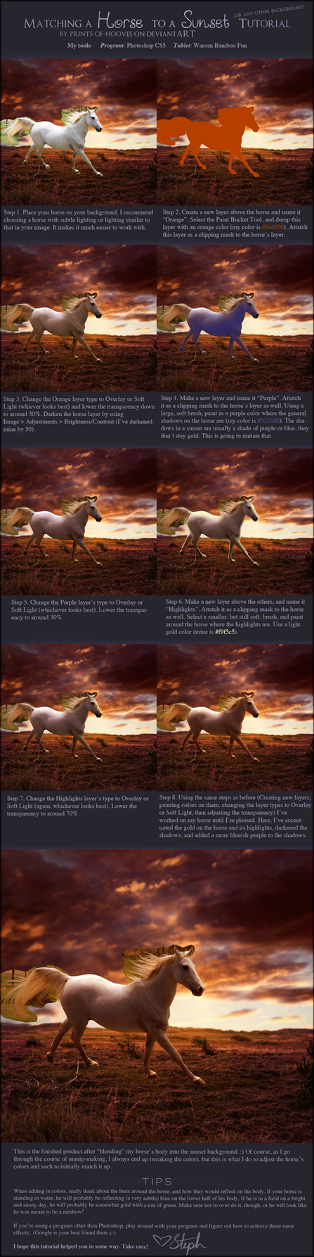 Matching a Horse to a Sunset Photomanip Tutorial by prints-of-hooves