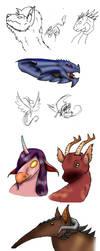 Dragon sketchdump by Fensy