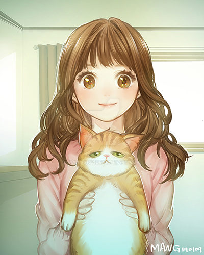 girl cat by manggi07