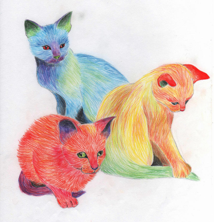 Multicoloured kittens by x----eLLiE----x