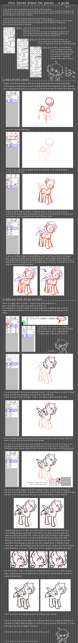 Pony tutorial: part 1 - line-art by secret-pony