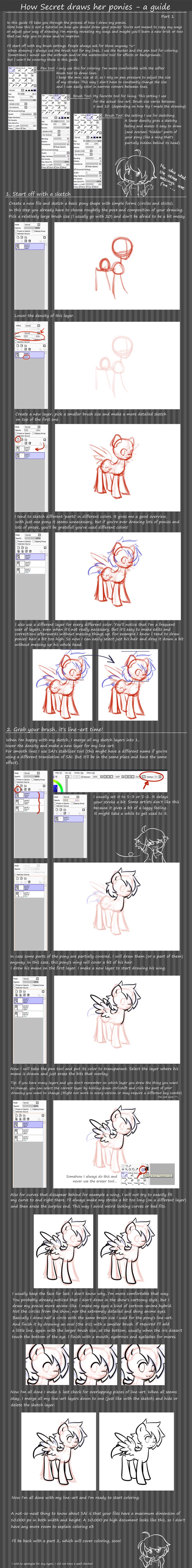 Pony tutorial: part 1 - line-art by secret-pony
