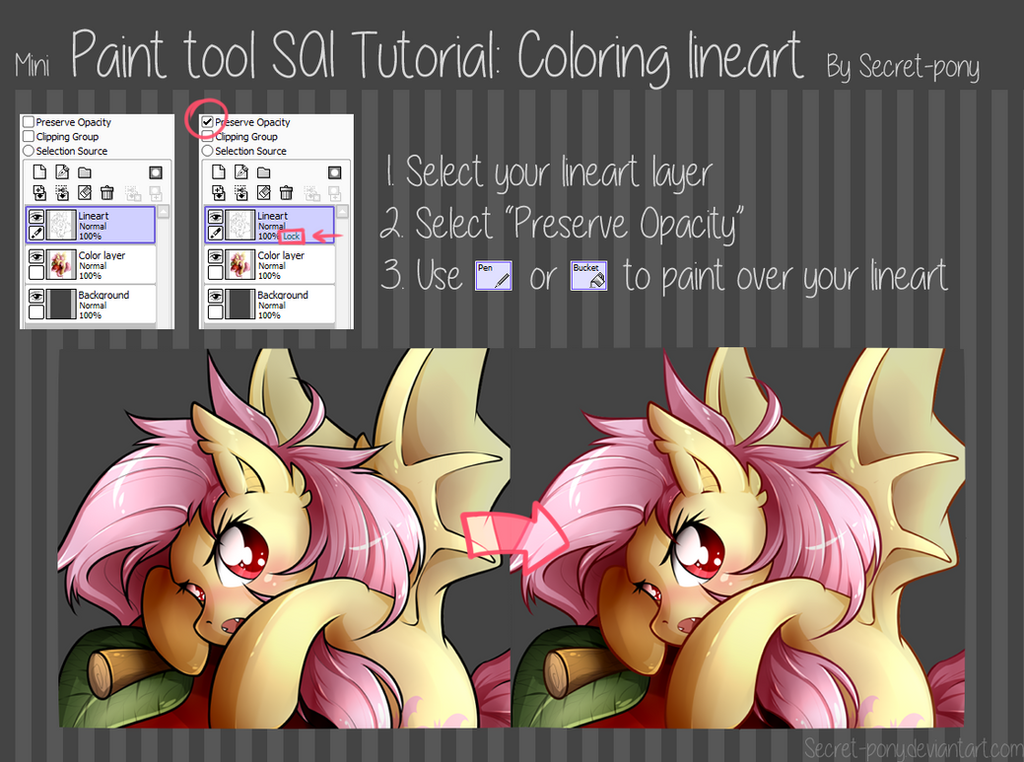 Paint tool SAI tutorial: Coloring Lineart by secret-pony on DeviantArt
