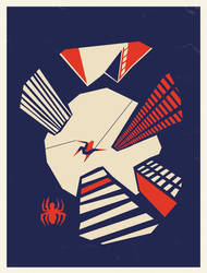Spiderman Skyline Saul Bass by two-pixels