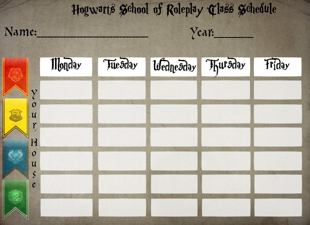 Hogwarts Class Schedule by SteampunkedInkling on DeviantArt