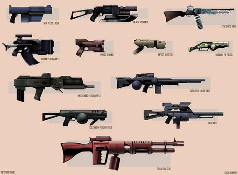 12 Rifts Firearms - Vector Illustration