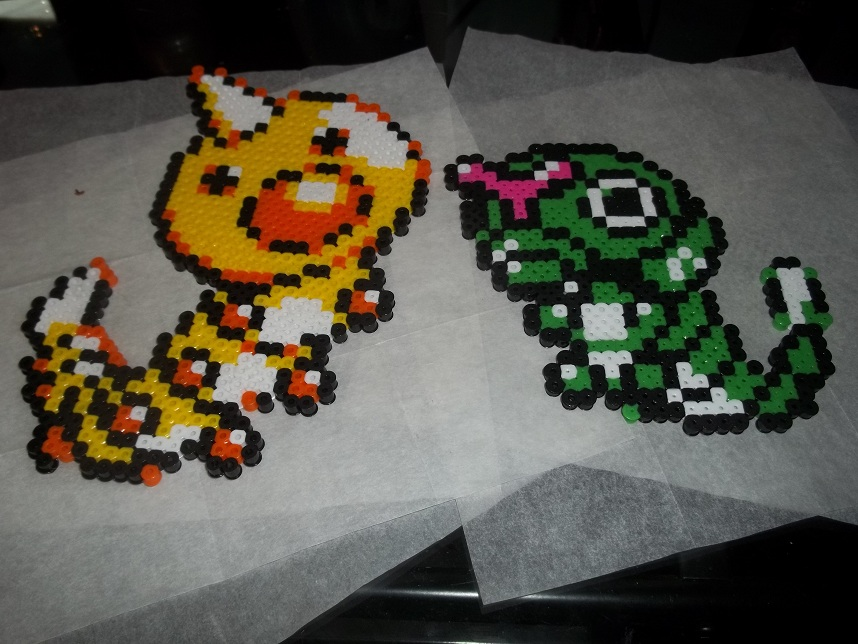 Caterpie and Weedle Perler by Libbyseay on DeviantArt