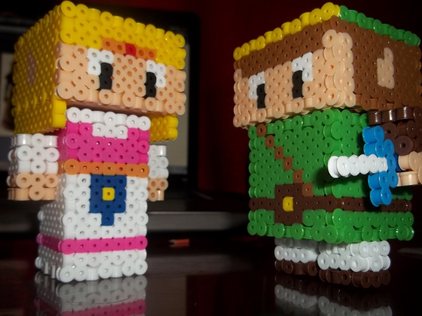 Zelda+Link 3D Perlers by Libbyseay