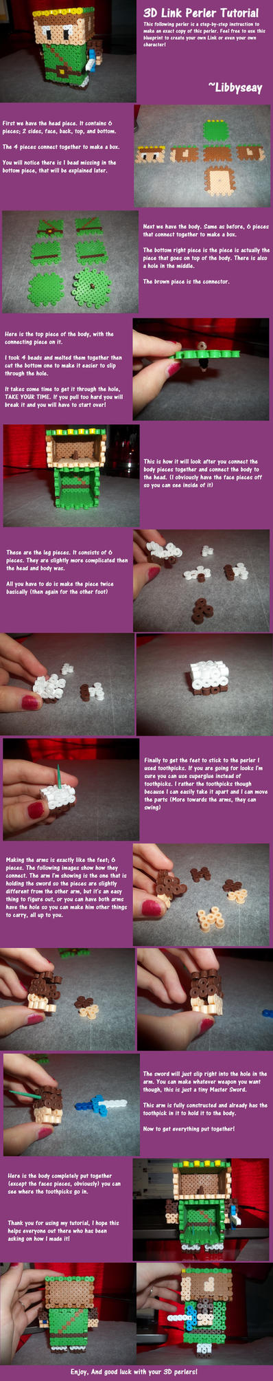 3D Link Perler Tutorial by Libbyseay